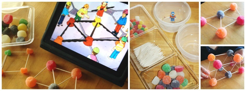 Gumdrop bridge building STEM engineering activity iPad set up