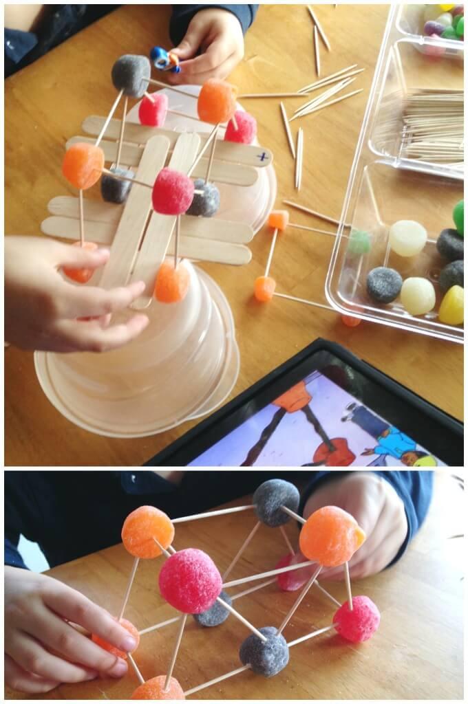 Gumdrop bridge building suspension bridge engineering iPad model lego men
