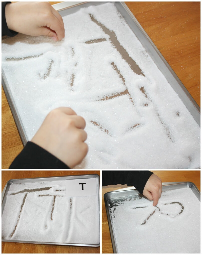 Letter Writing Salt Tray Practicing writing letters with fingers