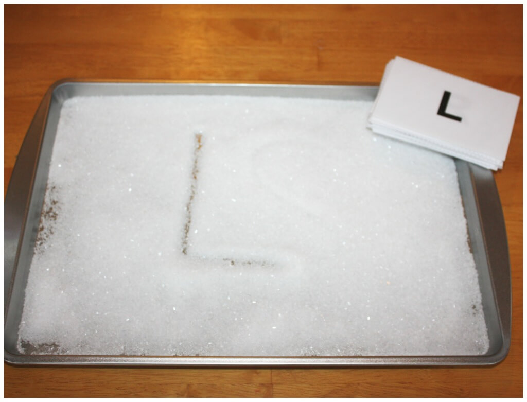 Letter Writing salt tray set up with salt and letter cards