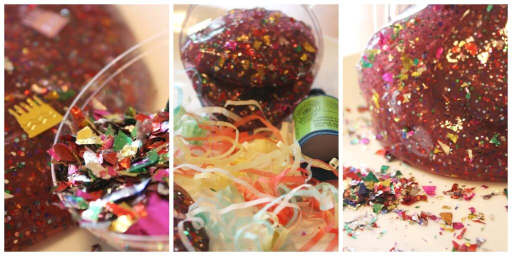 New Years Slime confetti and popper string sensory play