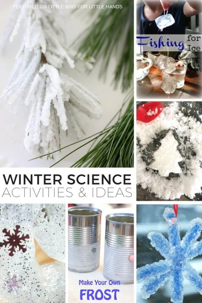 Fun winter science ideas and activities for kids to enjoy all season long. You don't even have to have snow to try most of them! Easy to set up winter science experiments for families or classrooms with preschool, kindergarten, and early elementary age kids. Winter slime, ice, crystal growing, fake snow, real snow, and more neat kids science projects to try this season.