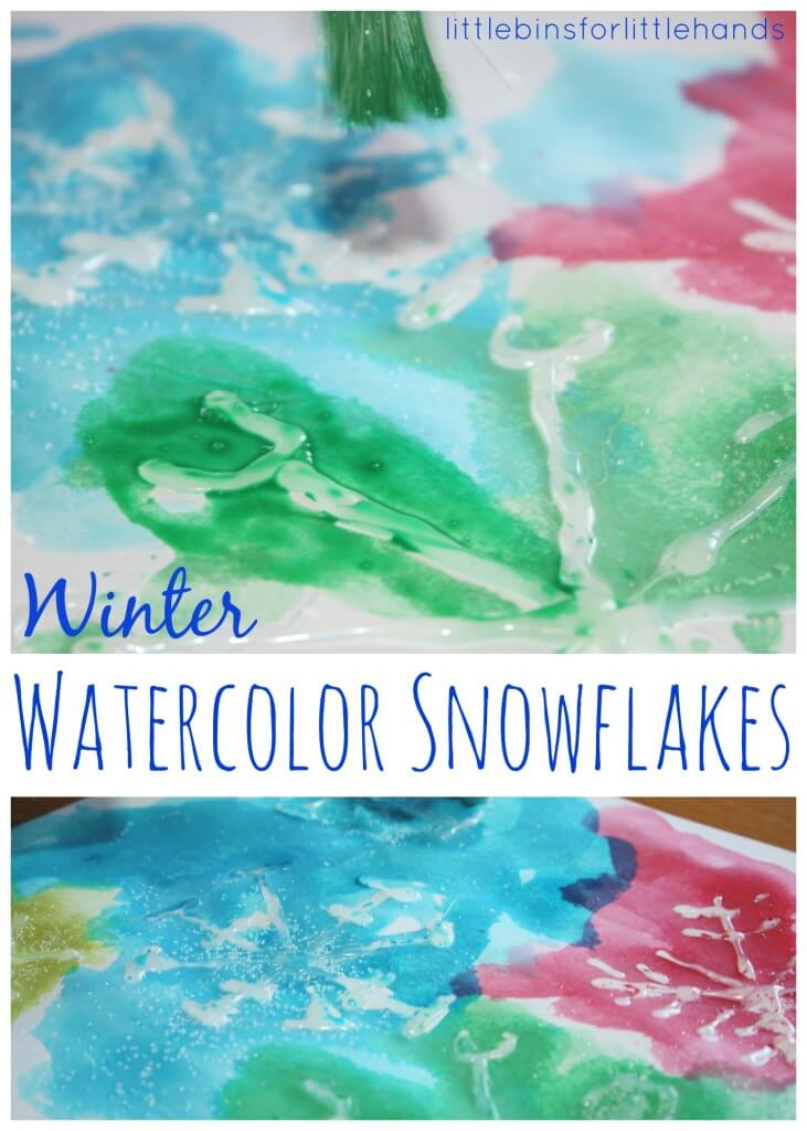 Watercolor Snowflakes Winter painting activity