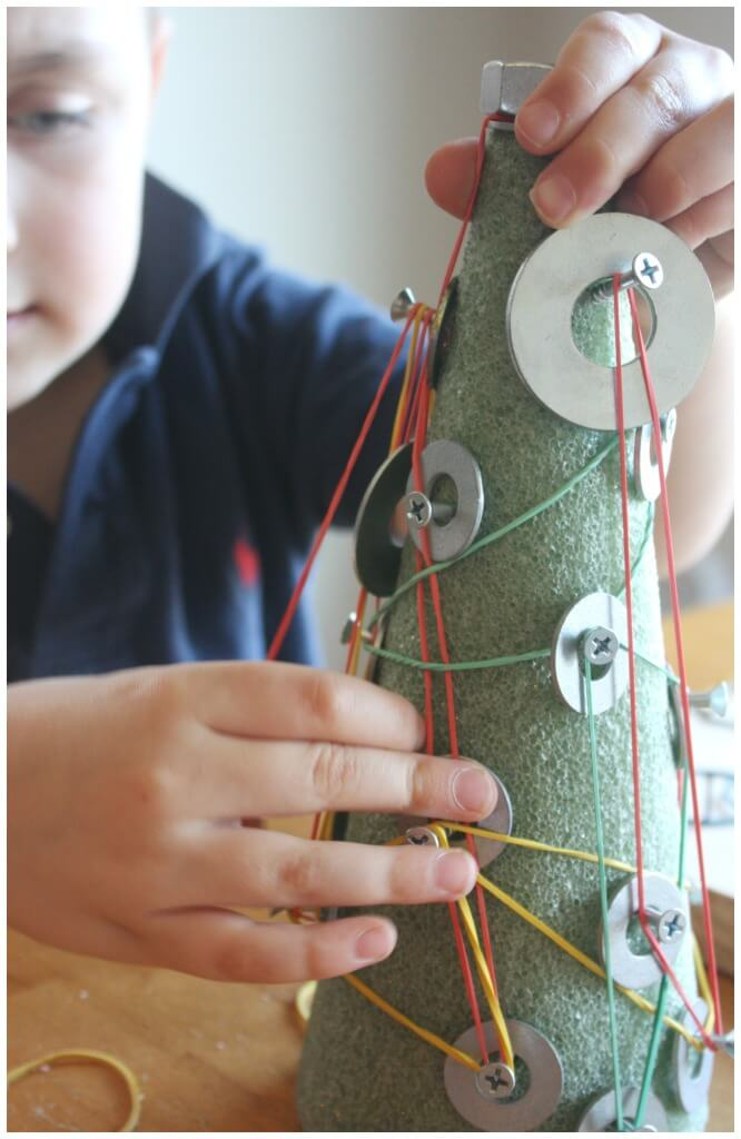christmas tree engineering project screws washers rubber bands geo board fine motor skills