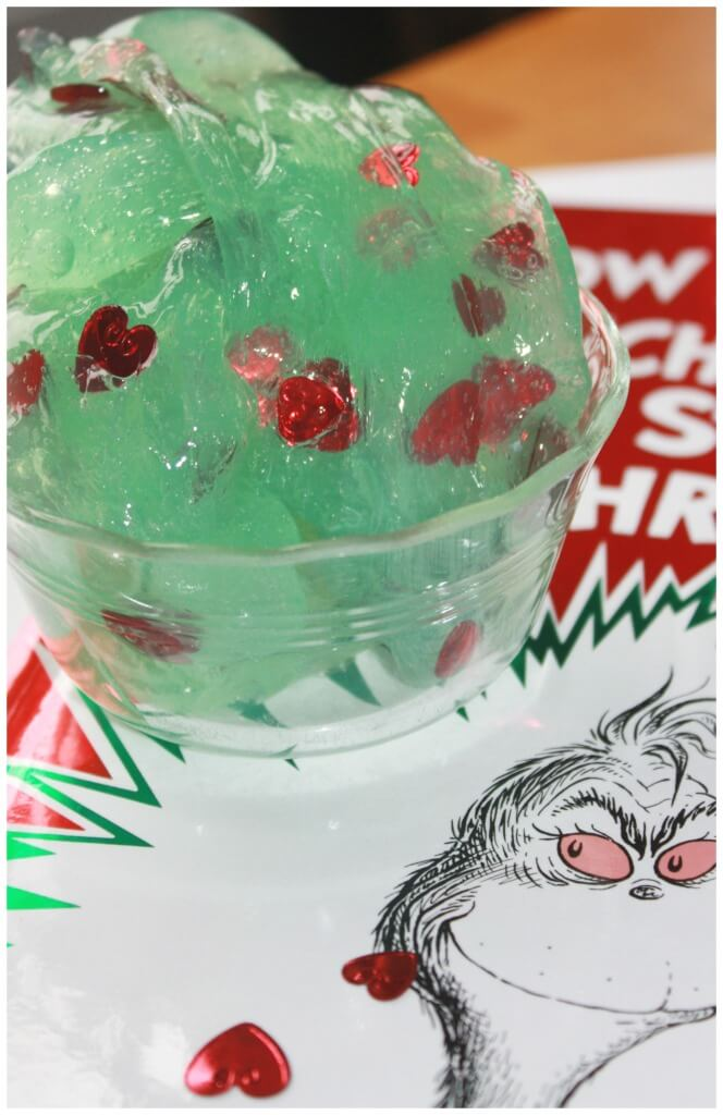 grinch slime heart slime book and sensory play easy slime recipe