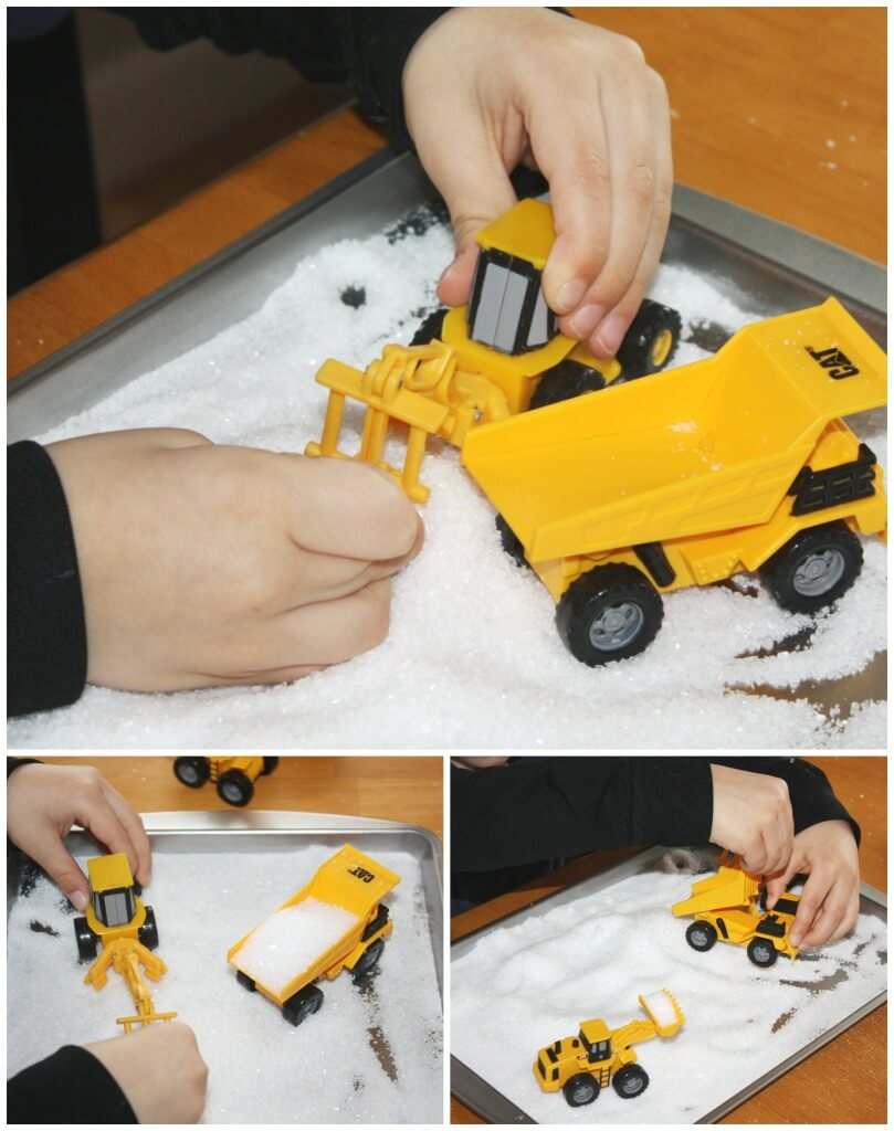 letter writing salt tray sensory play with construction vehicles
