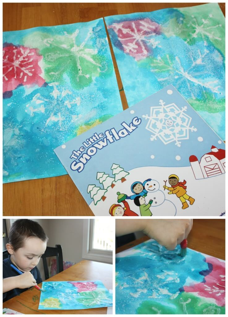 water snowflake painting activity and book activity