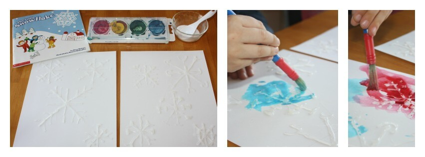 watercolor snowflake painting activity set up