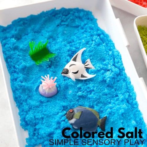 colored salt sensory play and ocean sensory bin