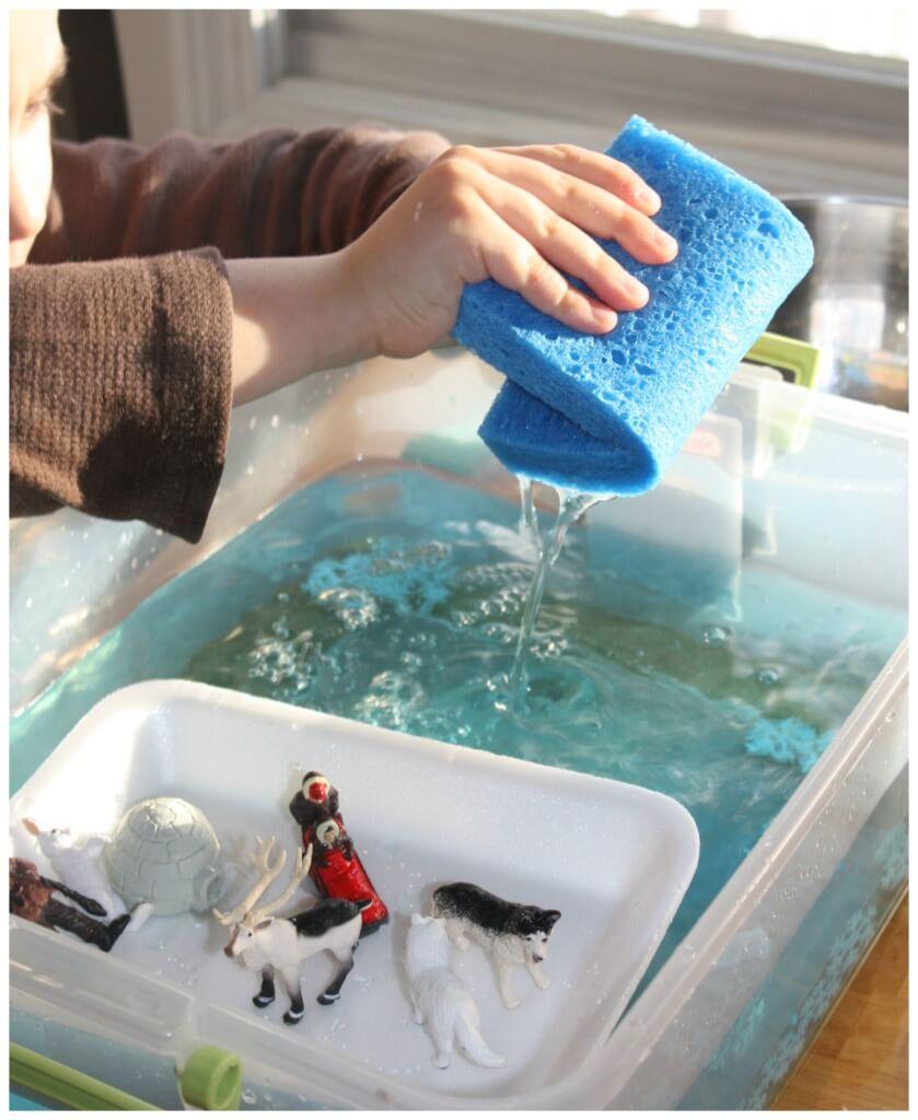 Arctic Sensory Play Arctic Water Sensory Bin Winter Ice melt science