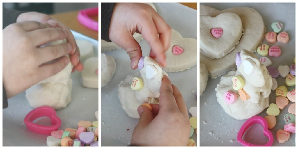 Candy Heart Salt Dough Sensory Play Snowman Building