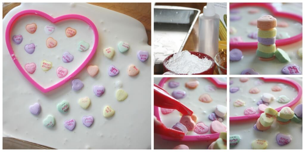Candy Hearts Oobleck science sensory play set up cornstarch water activity
