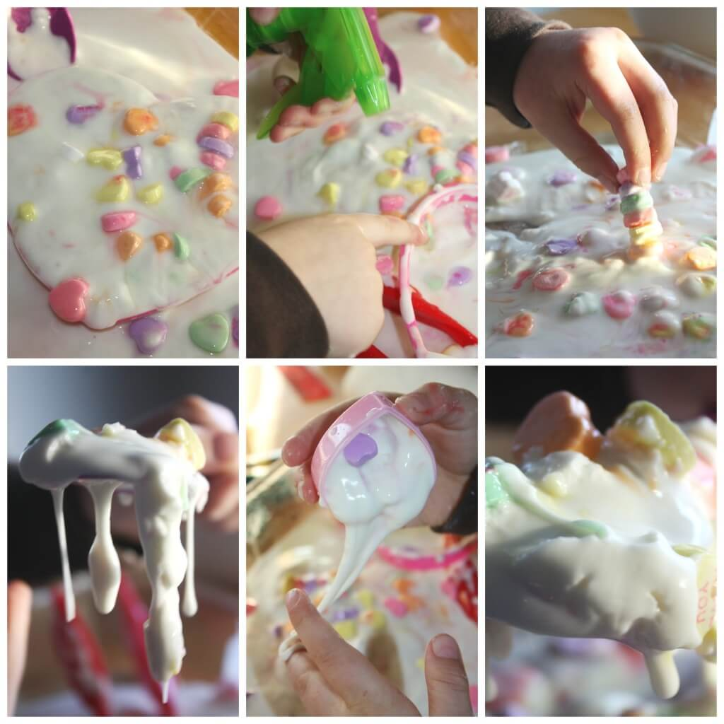 Candy Hearts oobleck science messy sensory play