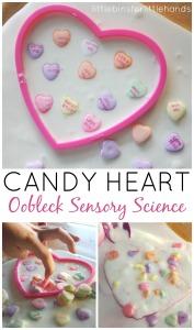 Candy hearts obelisk science sensory Valentines activity