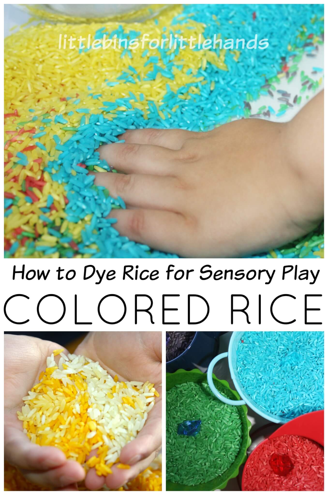 How to Dye Rice for Sensory Play Colored Rice