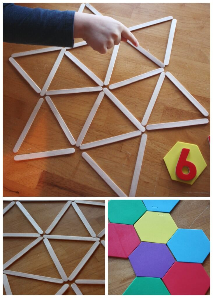 Geometric Shape Activity popsicle stick shape building idea