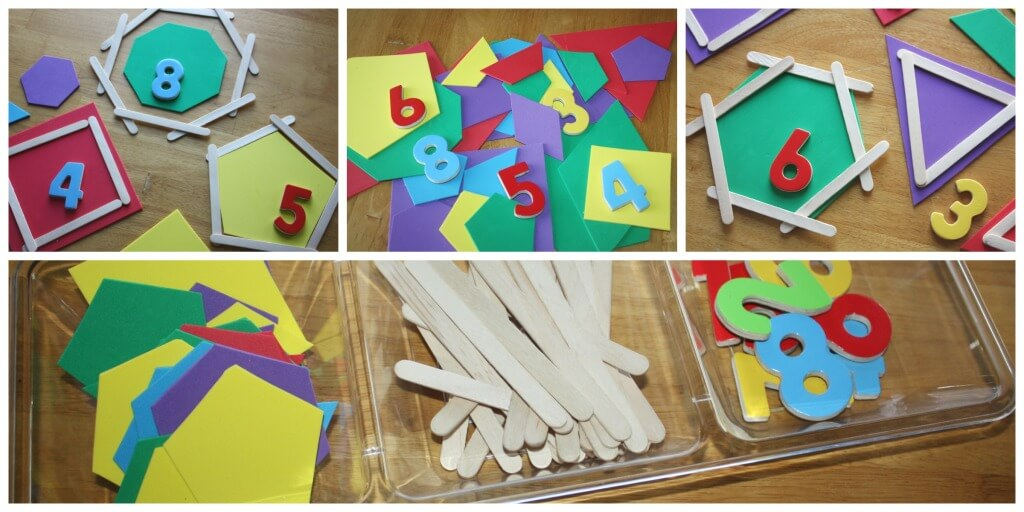 Geometric Shapes Activity Angles sides foam shapes popsicle sticks number magnets