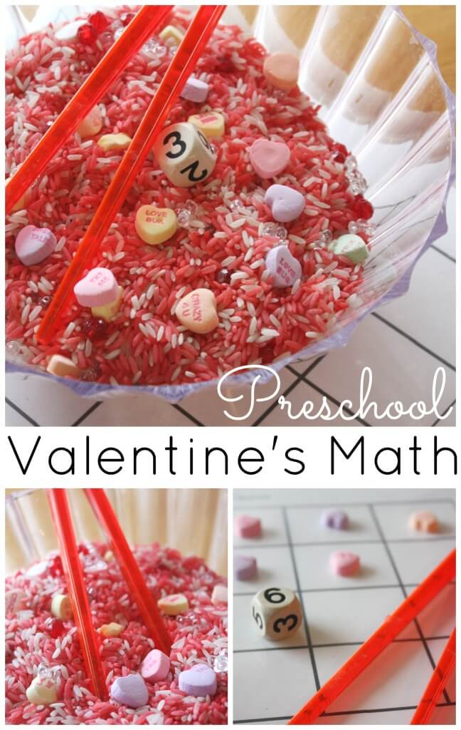 Heart Counting Game Valentine's Math activity rice sensory play
