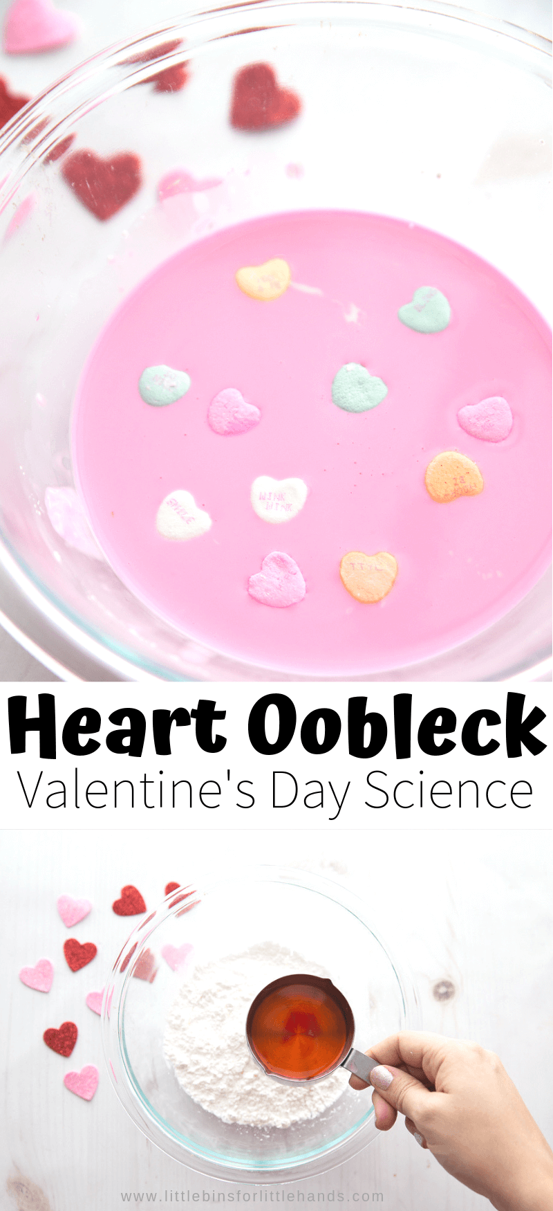 Candy heart oobleck activity for easy Valentine's Day Science, STEM, and sensory play!