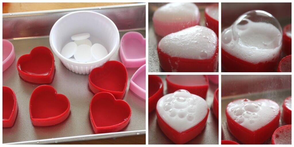 Heart eruptions Valentine's Day Erupting Hearts Science Alka Seltzer activity