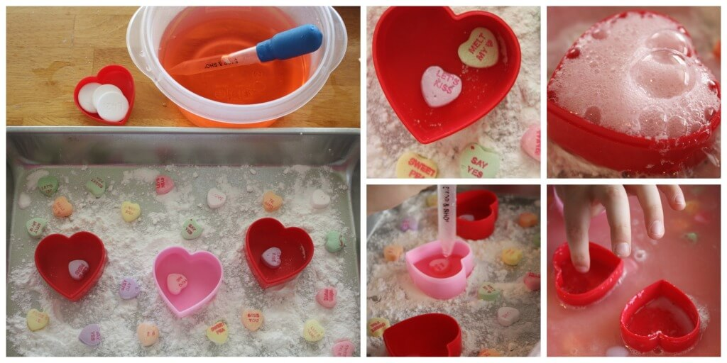 Heart eruptions fizzy erupting hearts alka seltzer science sensory play Valentine's Day