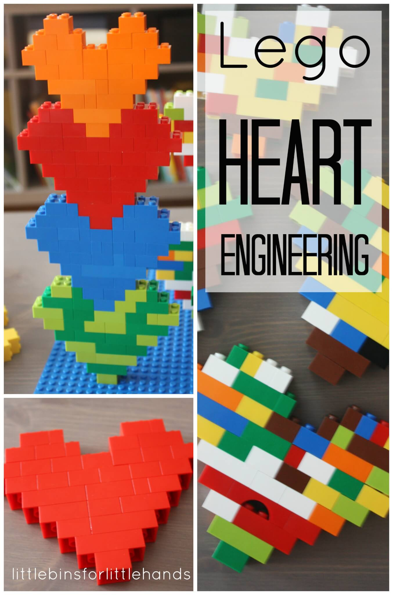 Lego hearts engineering and building project for kids for Lego crafts for kids