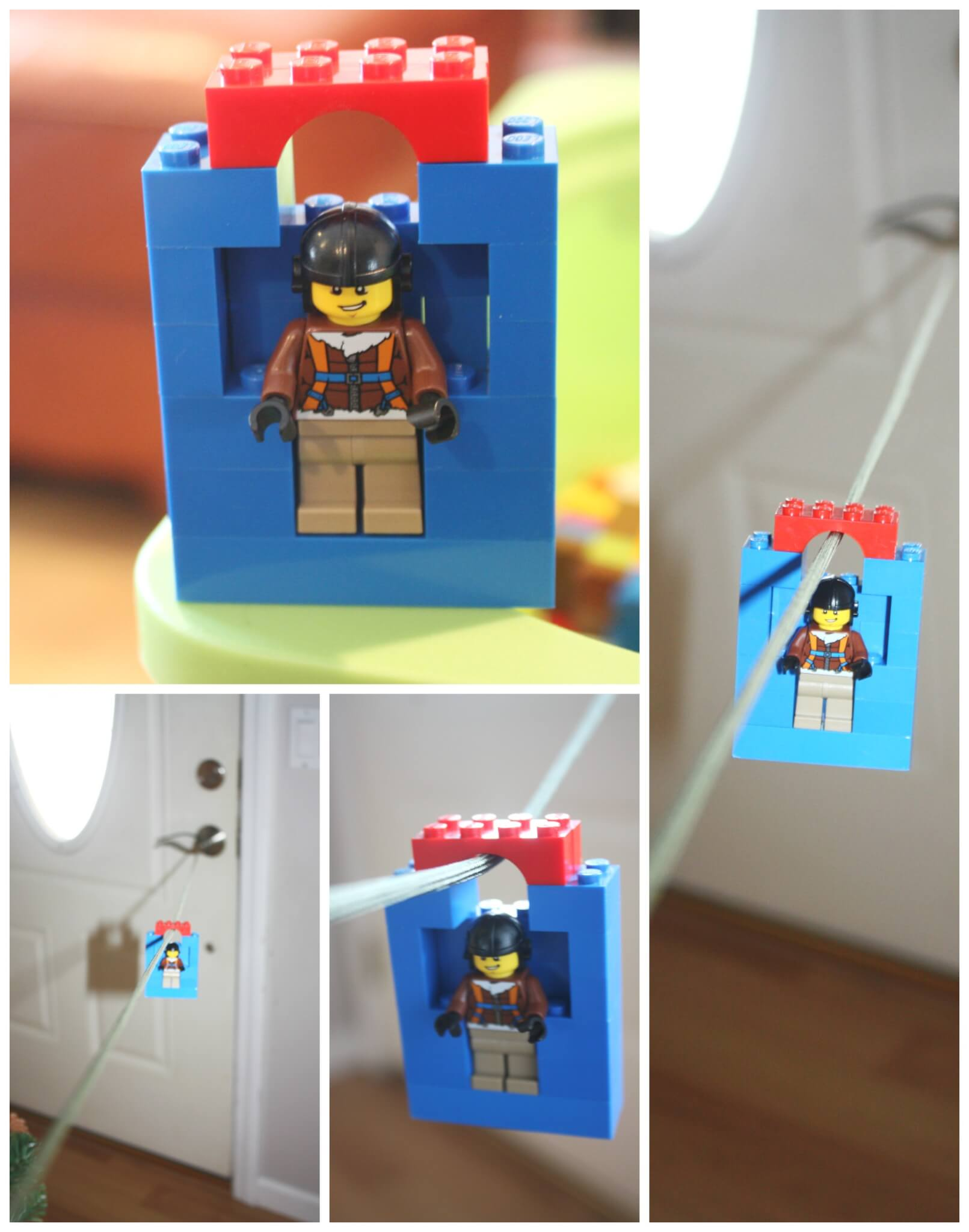 Lego zip line homemade toy zip line for kids for Lego crafts for kids