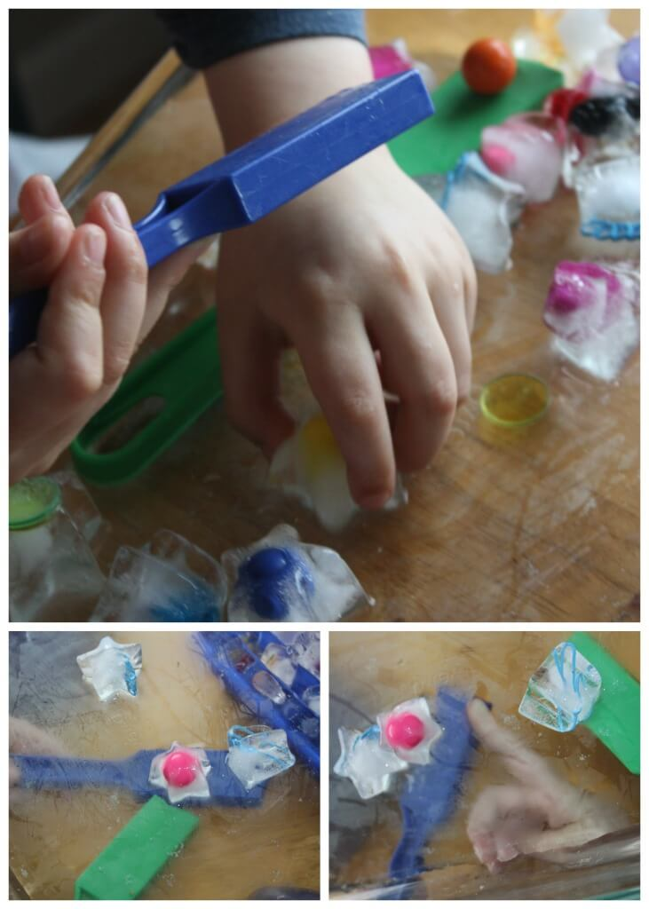 Magnetic ice science challenge sensory play