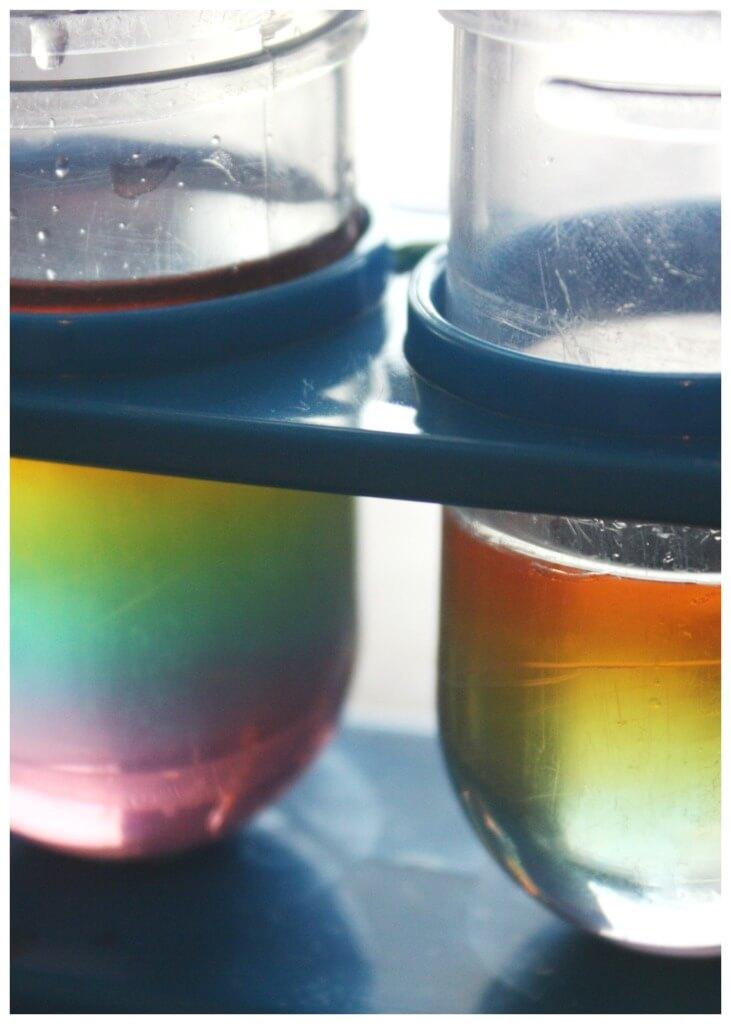Rainbow Sugar Water Density Small Test Tubes