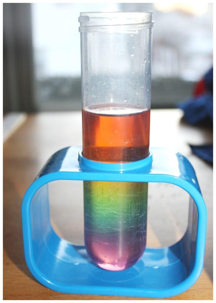 Rainbow Sugar Water Density Tower test tube science activity