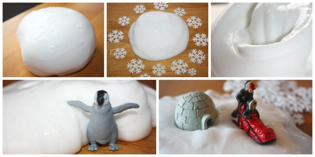 Snow dough slime recipe sensory play arctic animals