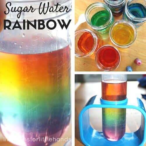 Sugar water density science and rainbow science activity