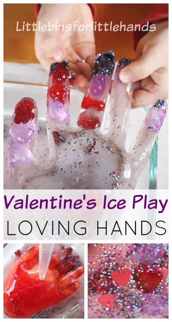 Valentine Frozen Hands Ice Activity Science Sensory Play