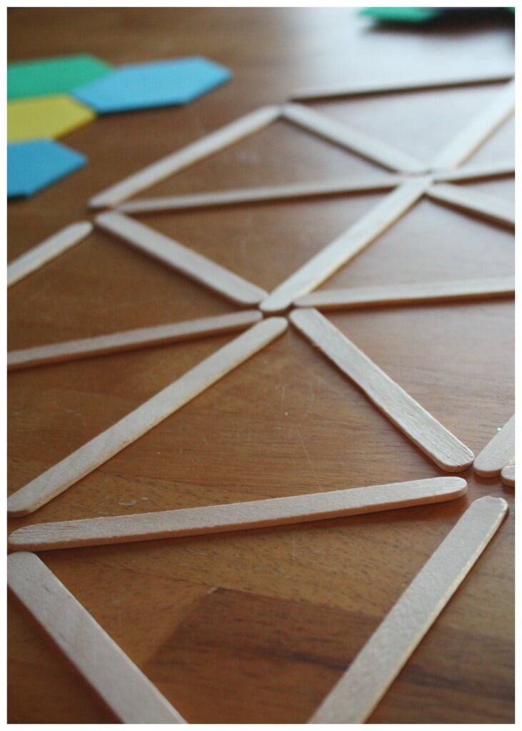 geometric shapes popsicle sticks math play