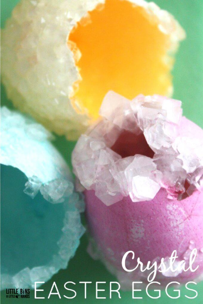 Grow Crystal Eggs and learn about growing crystals on eggshells. Use our borax crystal growing recipe for easy crystals kids love. Crystal growing is also an awesome chemistry experiment for kids!
