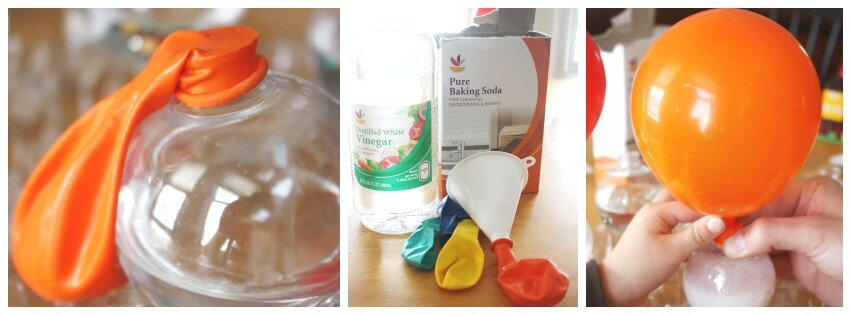 Balloon Science Inflating Balloon Activity Set Up with Baking Soda Vinegar
