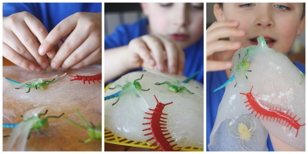 Bug Slime Sensory Play with bugs and insects Spring activity
