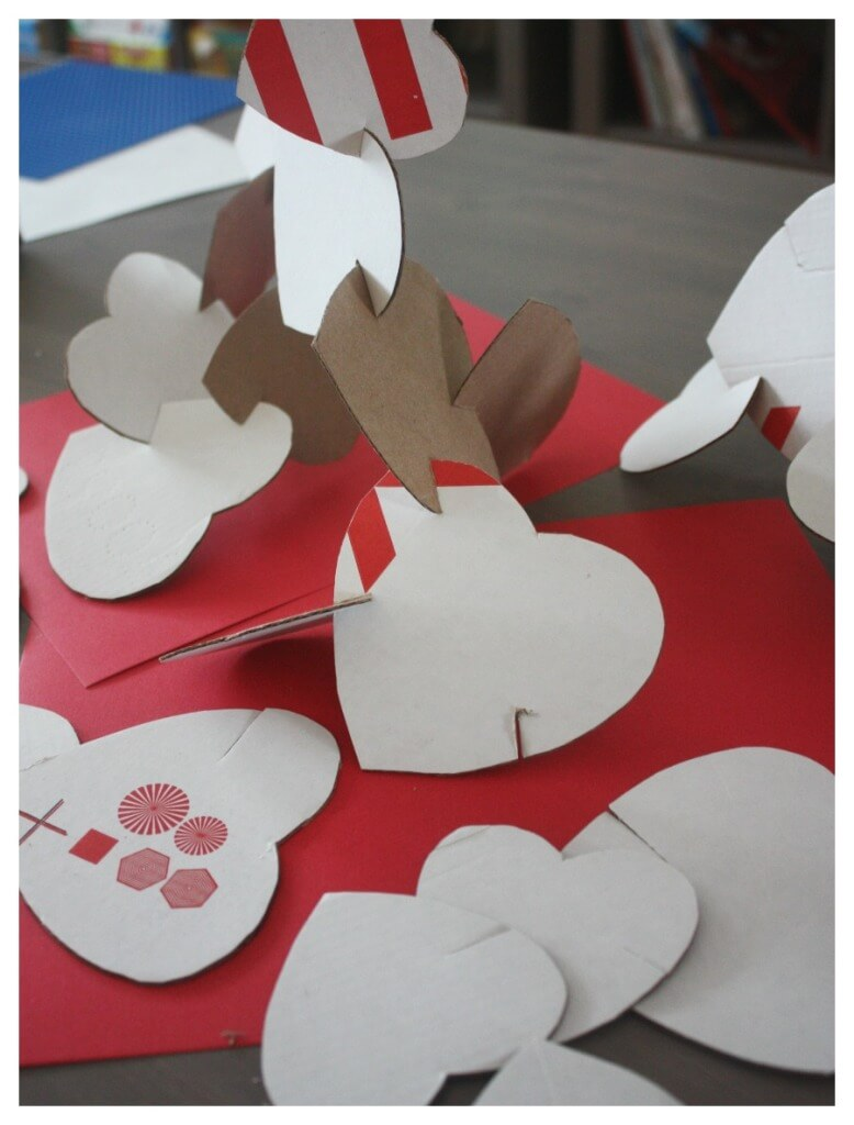 Cardboard Hearts Building Activity Cardboard Box Play Valentine Day Idea