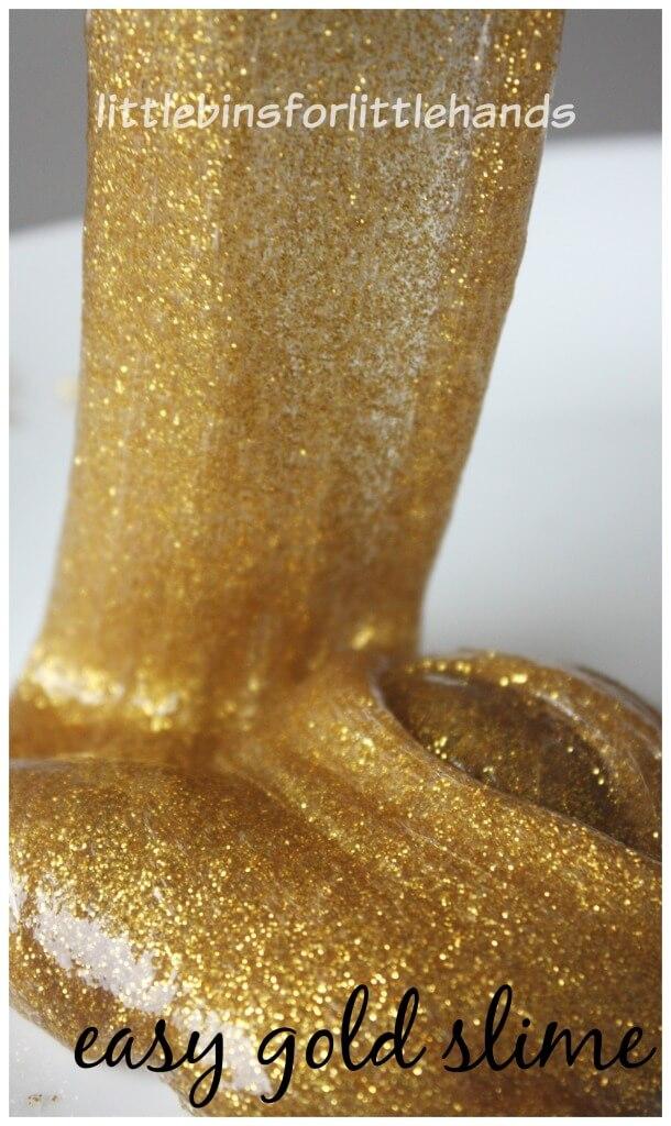 Gold Slime Recipe Easy Glitter Slime