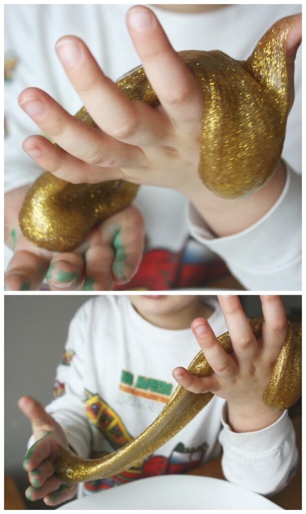 Gold Slime Recipe Sensory Play