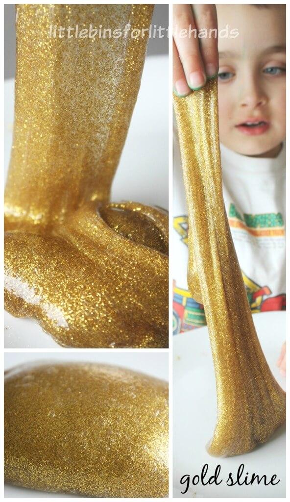 Gold Slime Recipe Sensory Play Activity