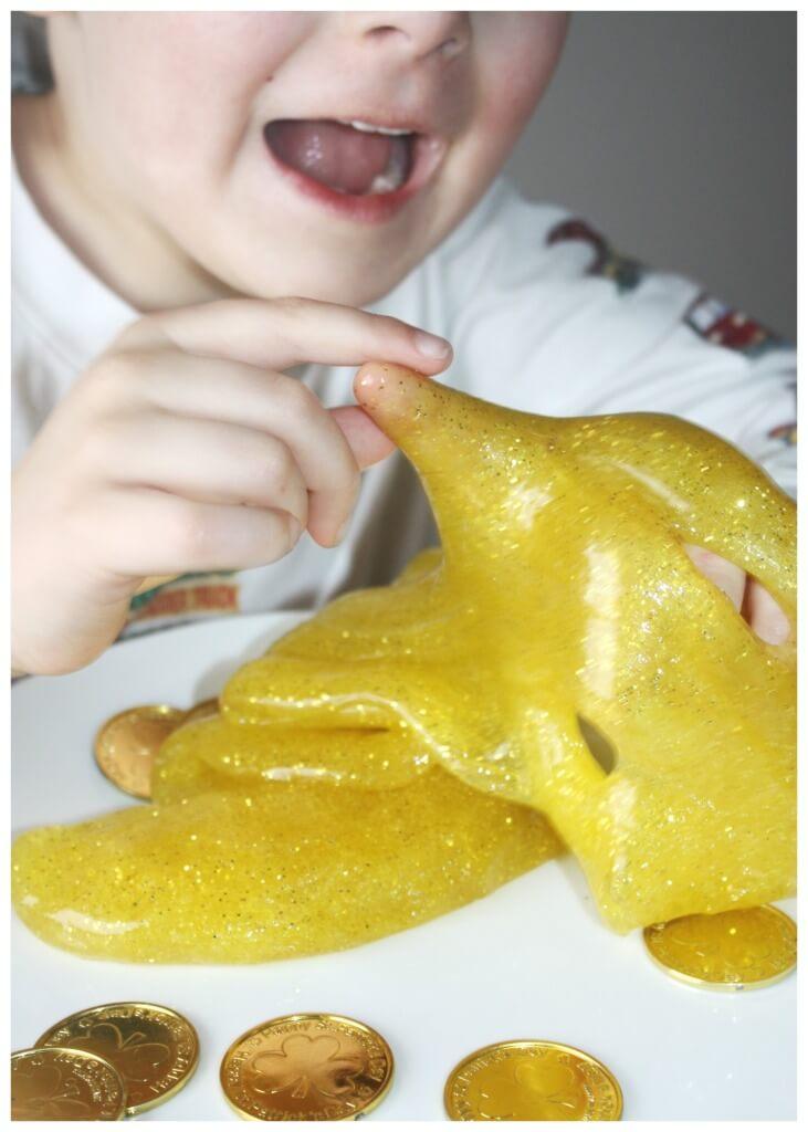 Gold Sparkle Slime Sensory Play