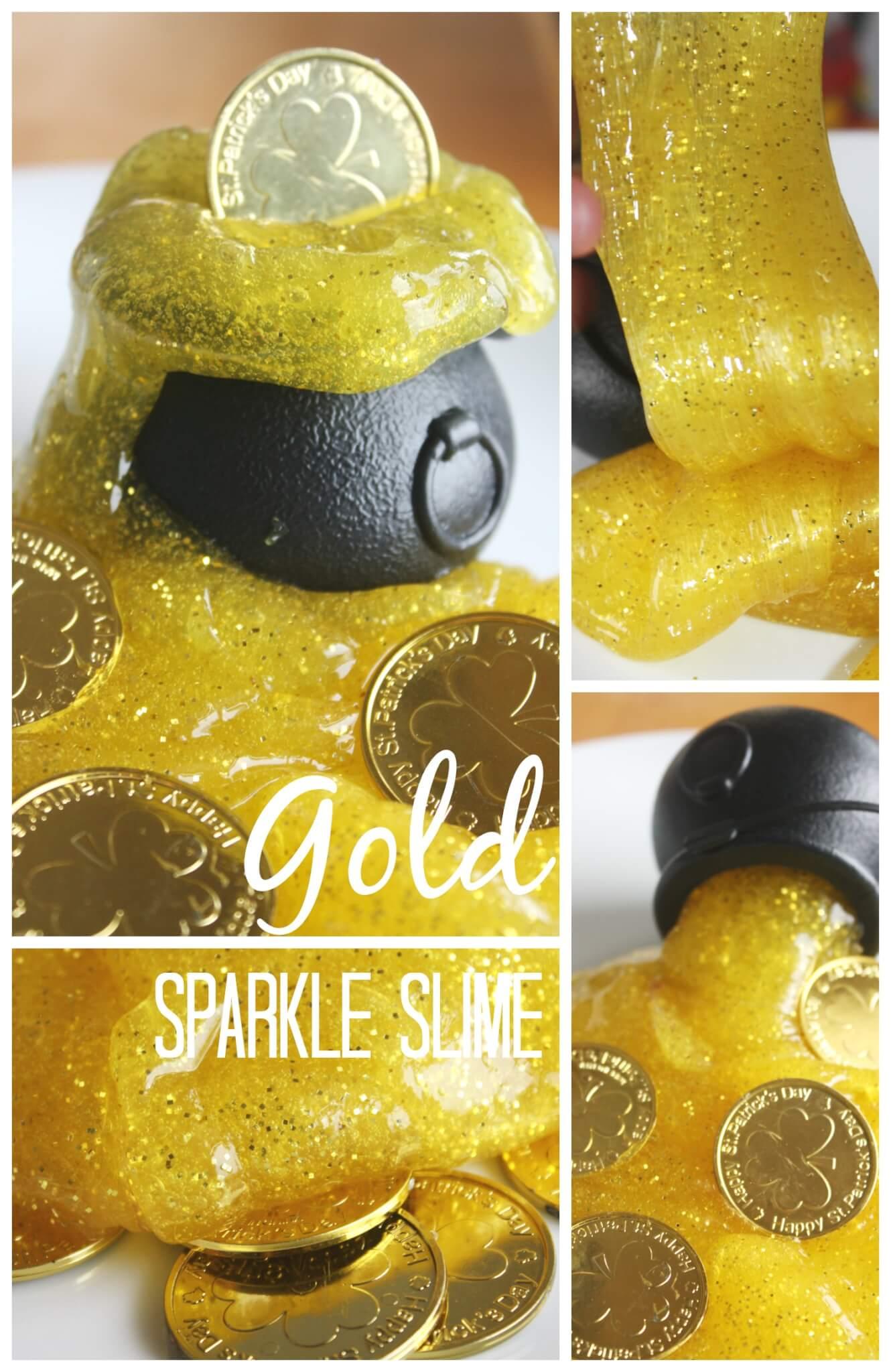 Gold Sparkle Slime Sensory Play Activity