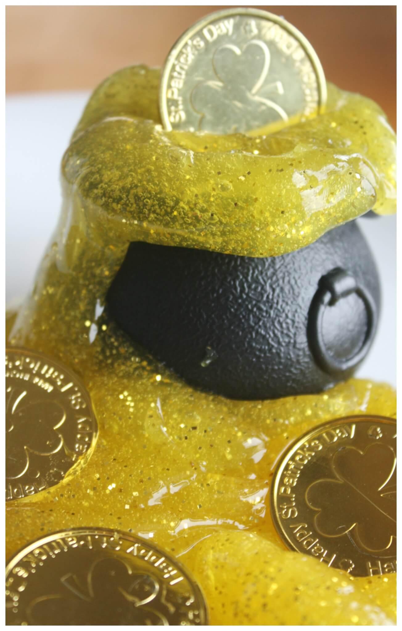 Gold Sparkle Slime Spring Sensory Play Activity