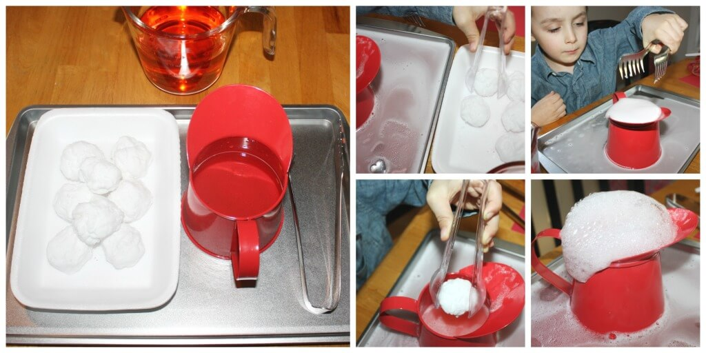 Heart Bombs Baking Soda Science Activity Set Up