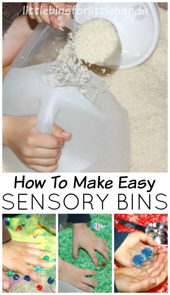How to Make Sensory Bins Sep by Step guide to make sensory bins