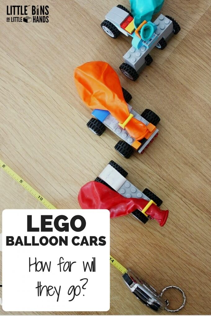 LEGO Balloon Cars for Kids STEM Activities Measuring Distance