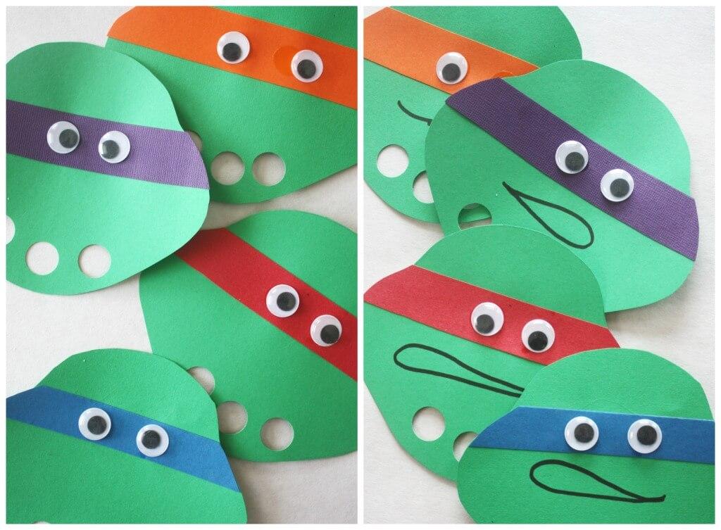 Ninja Turtle Finger Puppet Craft Finished