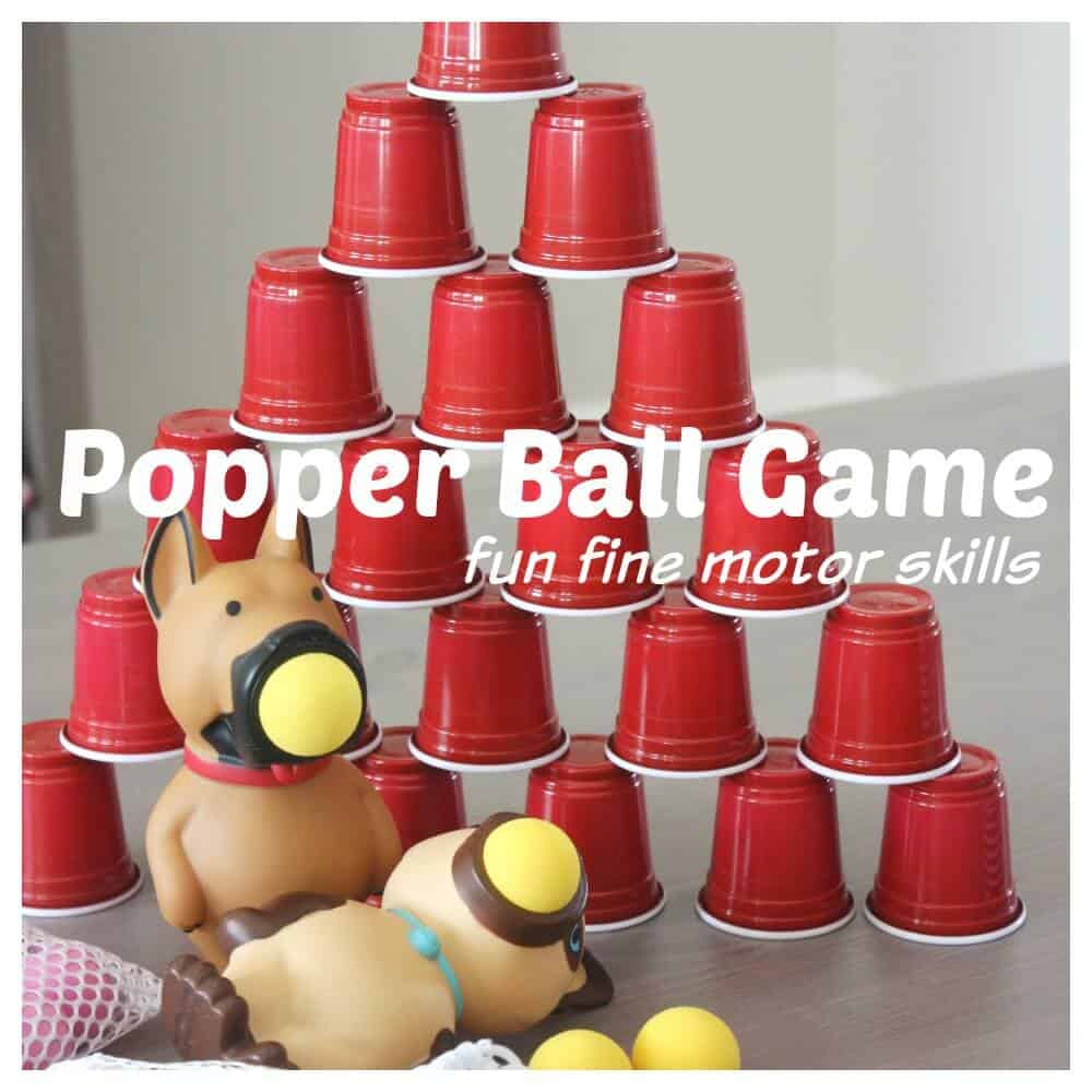 Popper Ball Game Fine Motor Play with Plastic Cups