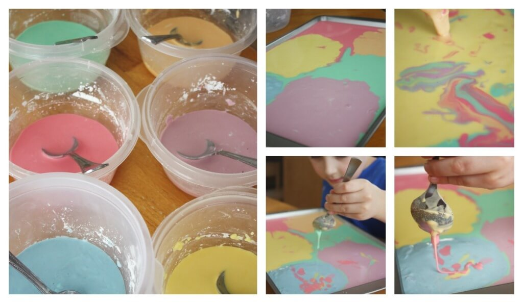 Rainbow Oobleck Science Activity Art Play STEAM Sensory Play Colored Cornstarch